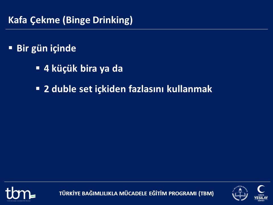 Kafa Çekme (Binge Drinking) TÜRKİYE BAĞIMLILIKLA MÜCADELE EĞİTİM PROGRAMI (TBM)  Bir gün içinde  4 küçük bira ya da  2 duble set içkiden fazlasını