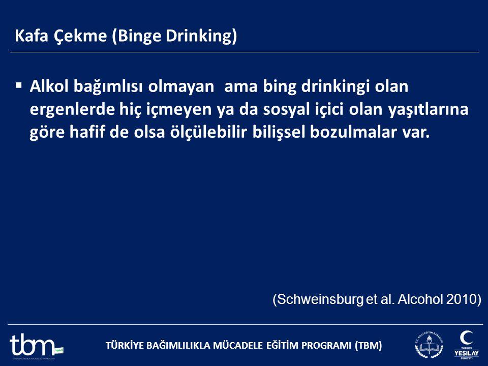 TÜRKİYE BAĞIMLILIKLA MÜCADELE EĞİTİM PROGRAMI (TBM)  Alkol bağımlısı olmayan ama bing drinkingi olan ergenlerde hiç içmeyen ya da sosyal içici olan y