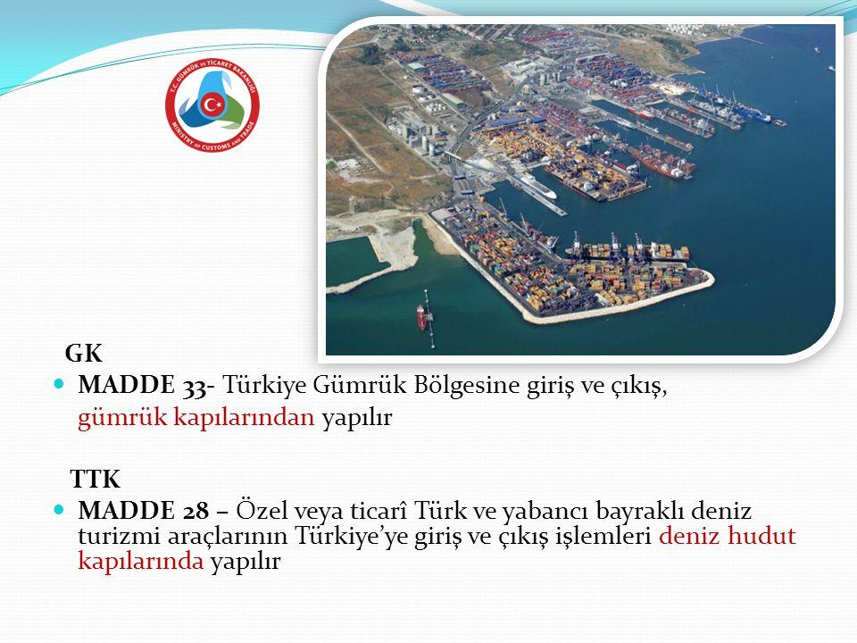 GK  MADDE 33- Türkiye Gümrük Bölgesine giriş ve çıkış, gümrük kapılarından yapılır TTK  MADDE 28 – Özel veya ticarî Türk ve yabancı bayraklı deniz t