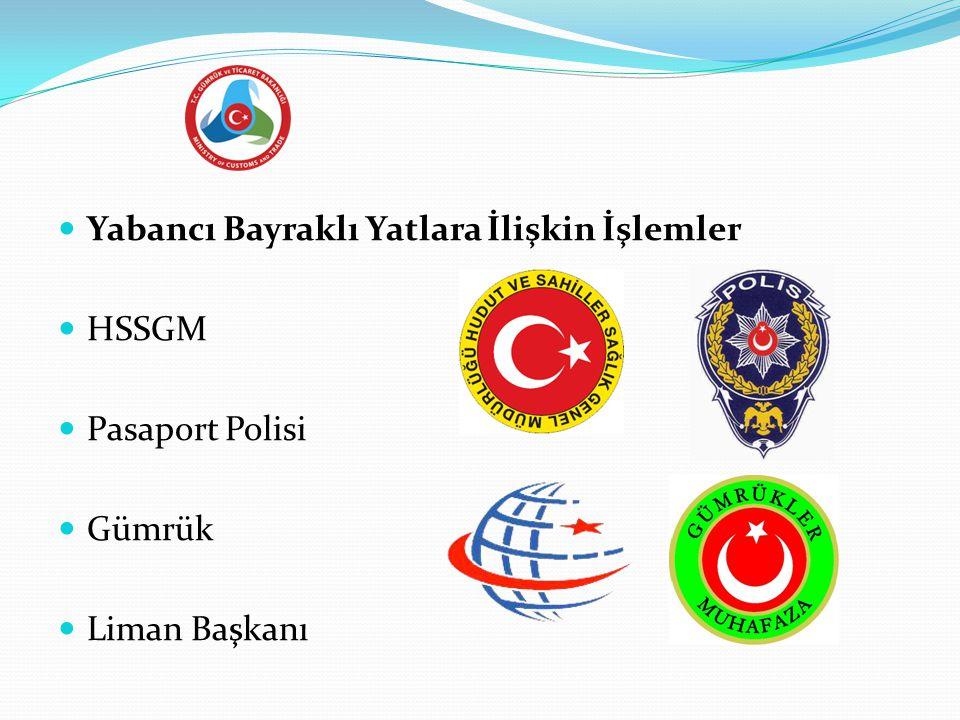  Yabancı Bayraklı Yatlara İlişkin İşlemler  HSSGM  Pasaport Polisi  Gümrük  Liman Başkanı