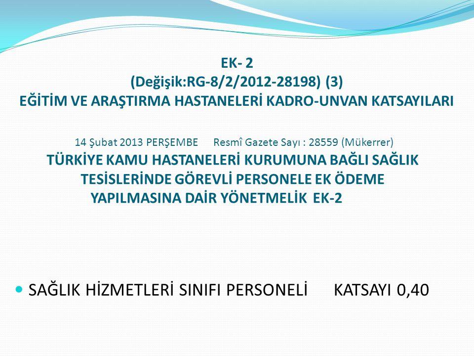 EK- 2 (Değişik:RG-8/2/2012-28198) (3) EĞİTİM VE ARAŞTIRMA HASTANELERİ KADRO-UNVAN KATSAYILARI  SAĞLIK HİZMETLERİ SINIFI PERSONELİ KATSAYI 0,40 14 Şubat 2013 PERŞEMBE Resmî Gazete Sayı : 28559 (Mükerrer) TÜRKİYE KAMU HASTANELERİ KURUMUNA BAĞLI SAĞLIK TESİSLERİNDE GÖREVLİ PERSONELE EK ÖDEME YAPILMASINA DAİR YÖNETMELİK EK-2