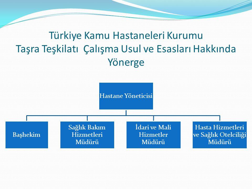 Türkiye Kamu Hastaneleri Kurumu Taşra Teşkilatı Çalışma Usul ve Esasları Hakkında Yönerge Hastane Yöneticisi Başhekim Sağlık Bakım Hizmetleri Müdürü İdari ve Mali Hizmetler Müdürü Hasta Hizmetleri ve Sağlık Otelciliği Müdürü