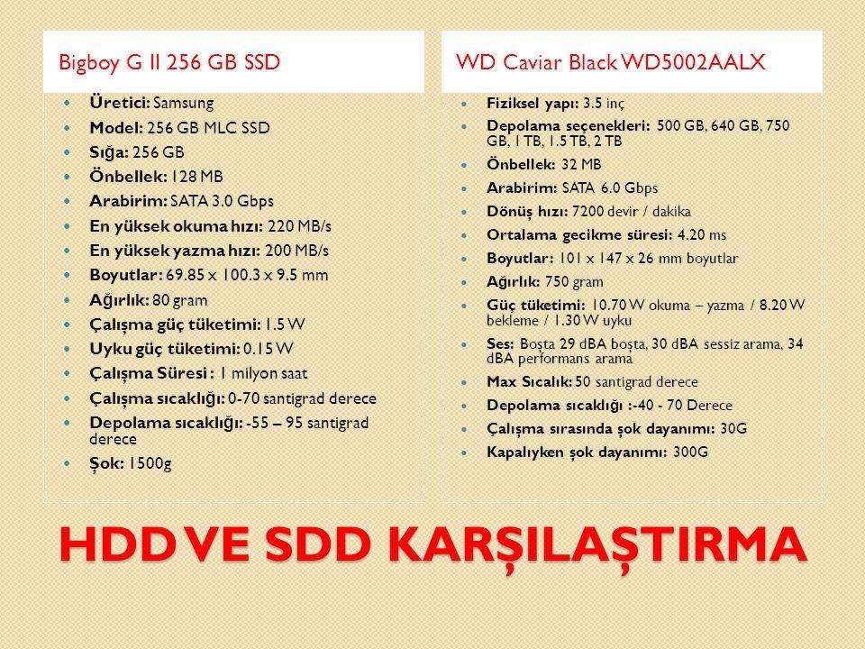 HDD VE SDD KARŞILAŞTIRMA Bigboy G II 256 GB SSDWD Caviar Black WD5002AALX  Üretici: Samsung  Model: 256 GB MLC SSD  Sı ğ a: 256 GB  Önbellek: 128