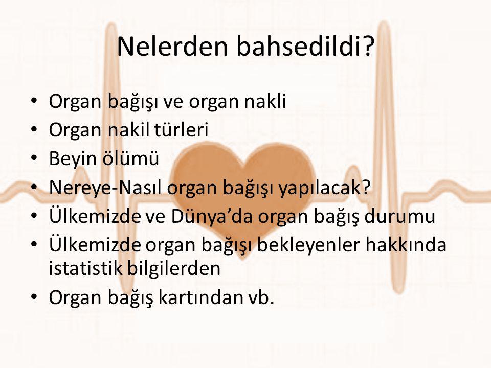 Nelerden bahsedildi? • Organ bağışı ve organ nakli • Organ nakil türleri • Beyin ölümü • Nereye-Nasıl organ bağışı yapılacak? • Ülkemizde ve Dünya'da