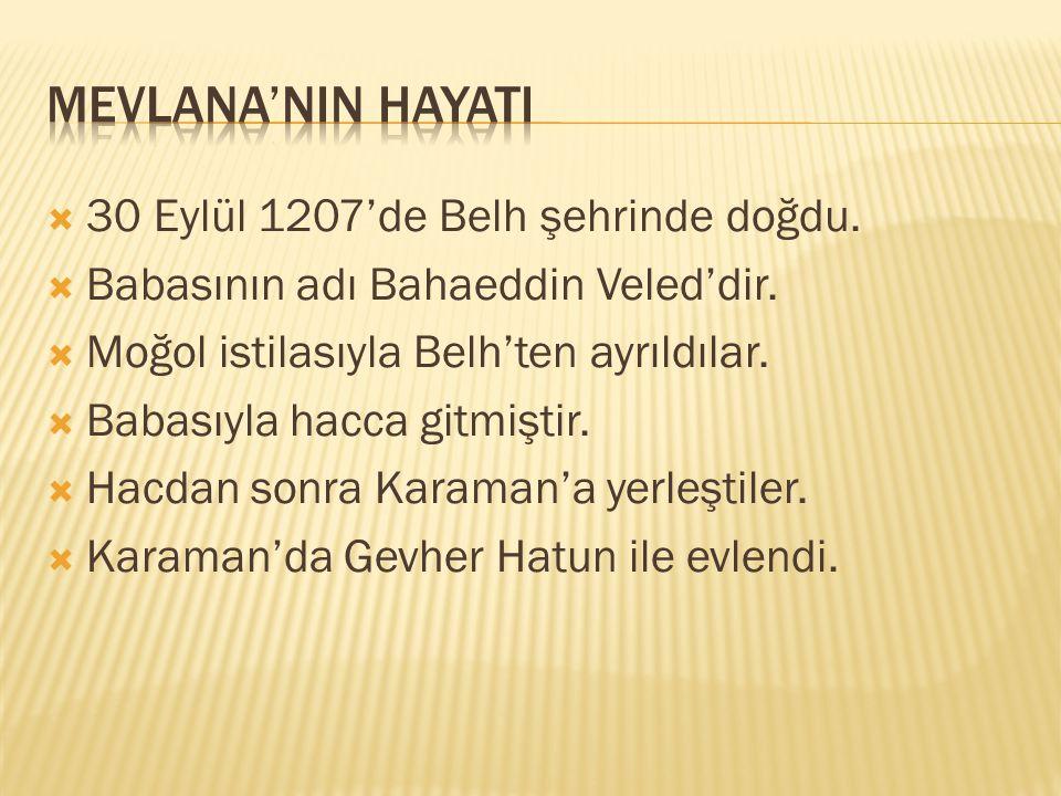  30 Eylül 1207'de Belh şehrinde doğdu. Babasının adı Bahaeddin Veled'dir.