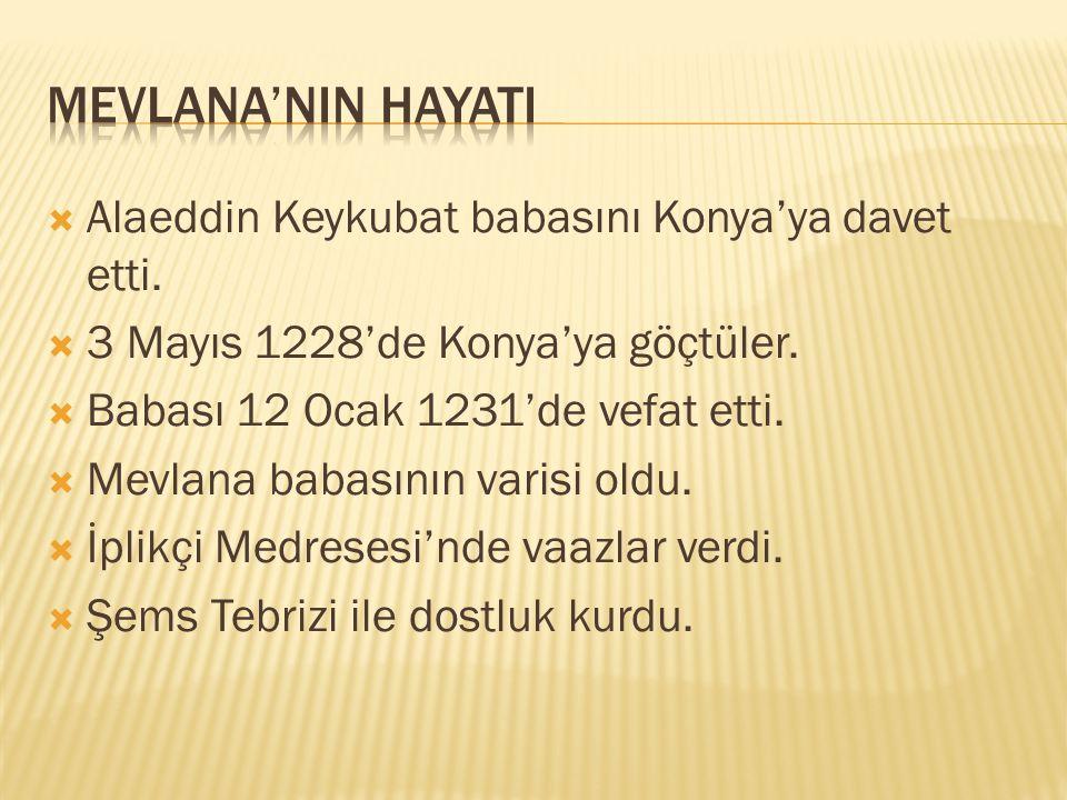  Alaeddin Keykubat babasını Konya'ya davet etti. 3 Mayıs 1228'de Konya'ya göçtüler.