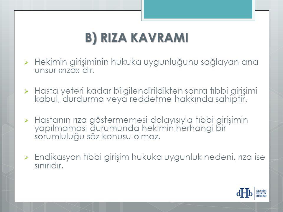 B) RIZA KAVRAMI  Hekimin girişiminin hukuka uygunluğunu sağlayan ana unsur «rıza» dır.  Hasta yeteri kadar bilgilendirildikten sonra tıbbi girişimi