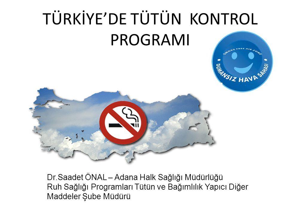 TÜRKİYE'DE TÜTÜN KONTROL PROGRAMI Dr.Saadet ÖNAL – Adana Halk Sağlığı Müdürlüğü Ruh Sağlığı Programları Tütün ve Bağımlılık Yapıcı Diğer Maddeler Şube
