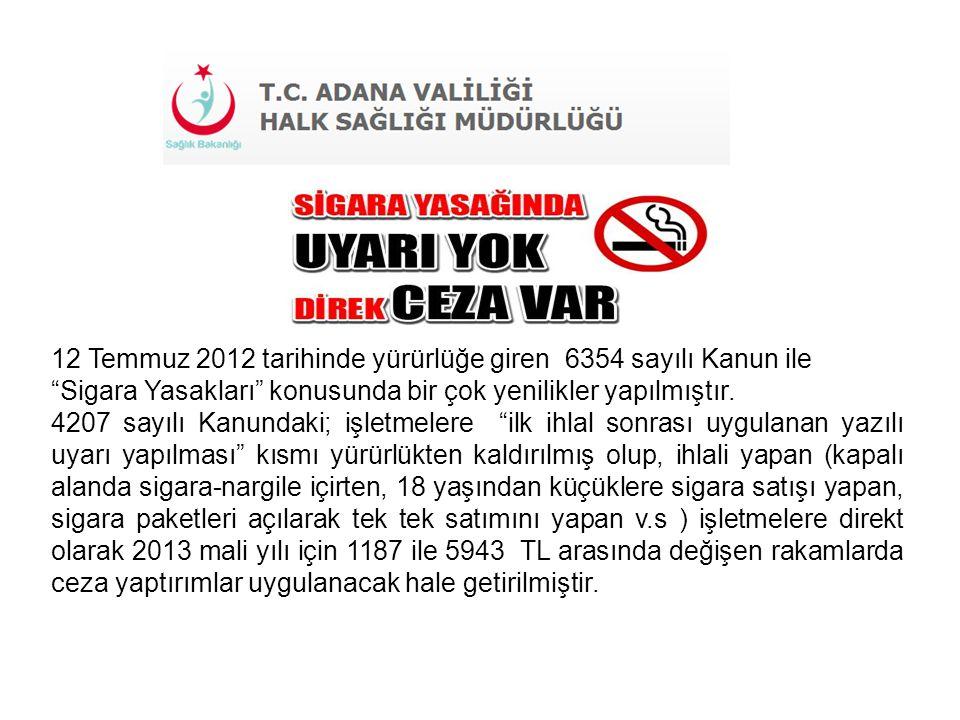 """12 Temmuz 2012 tarihinde yürürlüğe giren 6354 sayılı Kanun ile """"Sigara Yasakları"""" konusunda bir çok yenilikler yapılmıştır. 4207 sayılı Kanundaki; işl"""