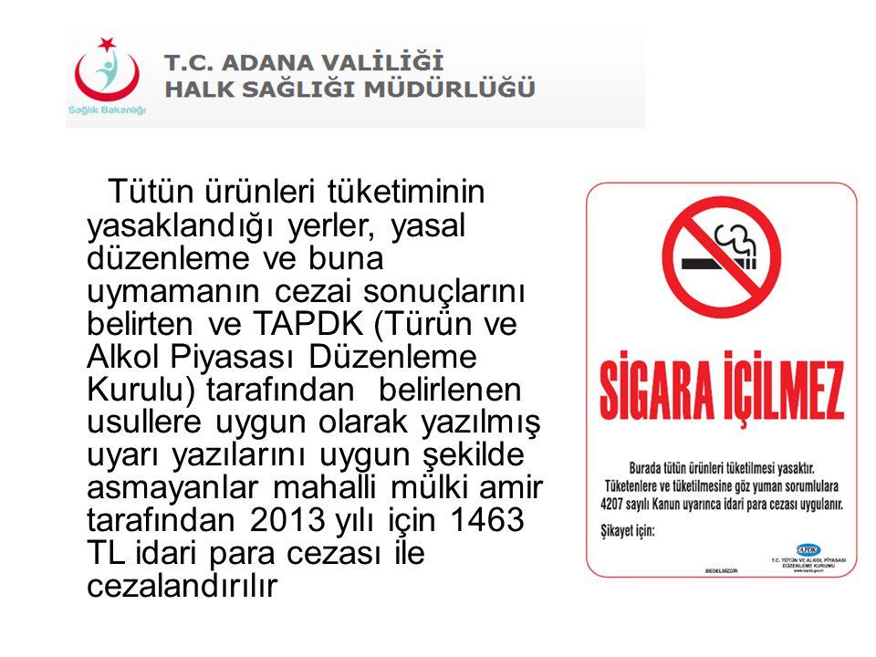 Tütün ürünleri tüketiminin yasaklandığı yerler, yasal düzenleme ve buna uymamanın cezai sonuçlarını belirten ve TAPDK (Türün ve Alkol Piyasası Düzenle