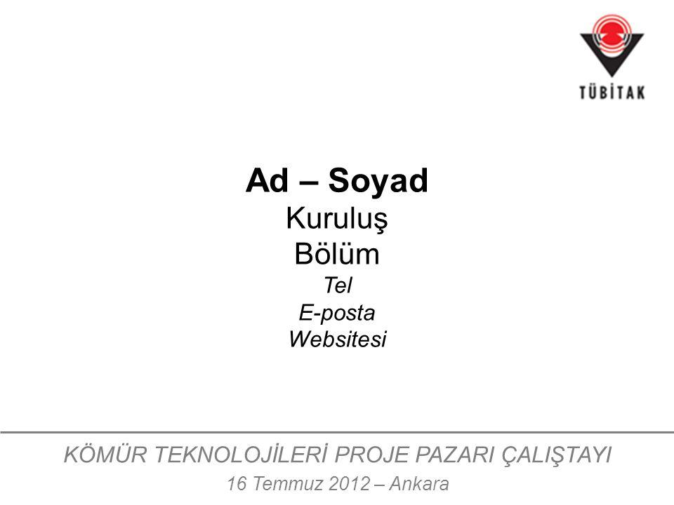 KÖMÜR TEKNOLOJİLERİ PROJE PAZARI ÇALIŞTAYI 16 Temmuz 2012 – Ankara Ad – Soyad Kuruluş Bölüm Tel E-posta Websitesi