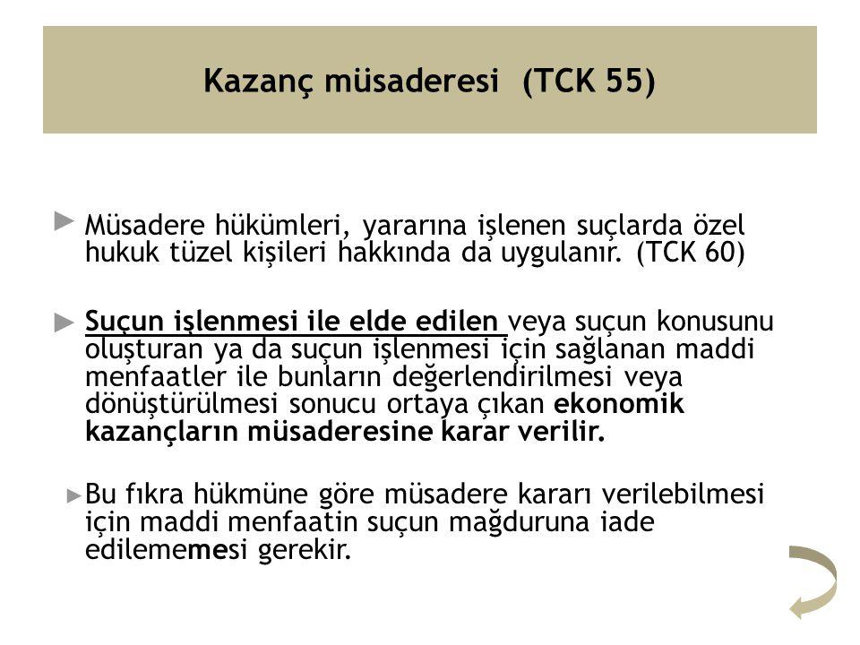 Kazanç müsaderesi (TCK 55) Müsadere hükümleri, yararına işlenen suçlarda özel hukuk tüzel kişileri hakkında da uygulanır.
