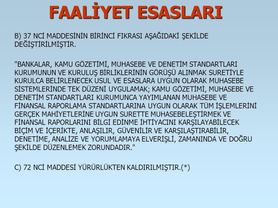 FAALİYET ESASLARI B) 37 NCİ MADDESİNİN BİRİNCİ FIKRASI AŞAĞIDAKİ ŞEKİLDE DEĞİŞTİRİLMİŞTİR.