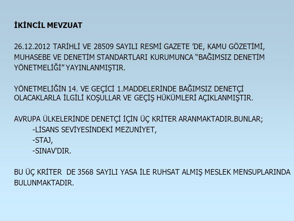 """İKİNCİL MEVZUAT 26.12.2012 TARİHLİ VE 28509 SAYILI RESMİ GAZETE 'DE, KAMU GÖZETİMİ, MUHASEBE VE DENETİM STANDARTLARI KURUMUNCA """"BAĞIMSIZ DENETİM YÖNET"""