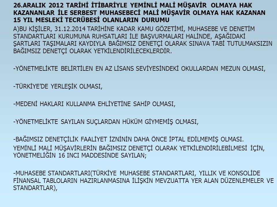 26.ARALIK 2012 TARİHİ İTİBARİYLE YEMİNLİ MALİ MÜŞAVİR OLMAYA HAK KAZANANLAR İLE SERBEST MUHASEBECİ MALİ MÜŞAVİR OLMAYA HAK KAZANAN 15 YIL MESLEKİ TECR