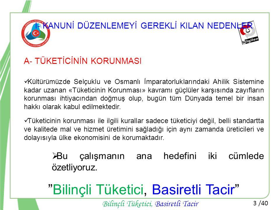 3 /40 Bilinçli Tüketici, Basiretli Tacir I- KANUNİ DÜZENLEMEYİ GEREKLİ KILAN NEDENLER A- TÜKETİCİNİN KORUNMASI  Kültürümüzde Selçuklu ve Osmanlı İmpa