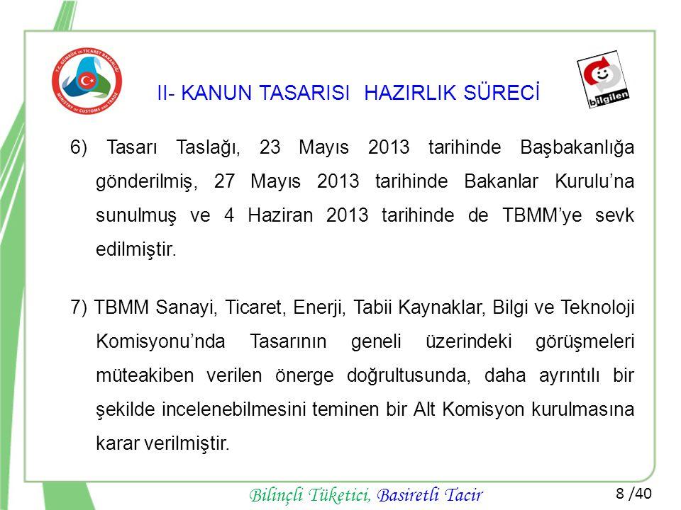 8 /40 Bilinçli Tüketici, Basiretli Tacir II- KANUN TASARISI HAZIRLIK SÜRECİ 6) Tasarı Taslağı, 23 Mayıs 2013 tarihinde Başbakanlığa gönderilmiş, 27 Ma
