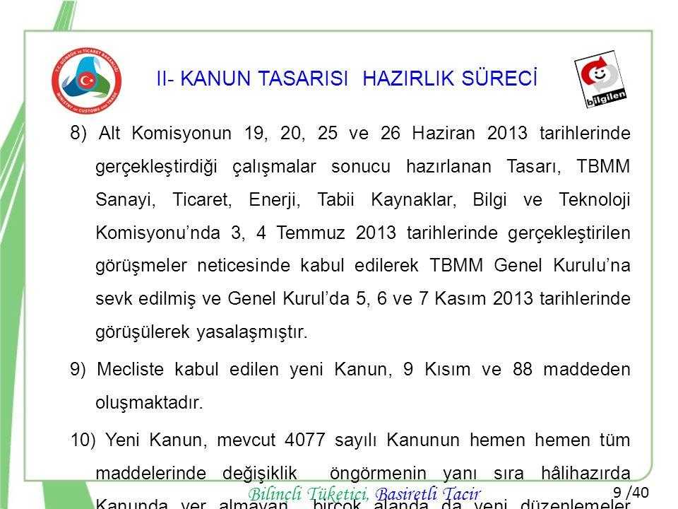 9 /40 Bilinçli Tüketici, Basiretli Tacir II- KANUN TASARISI HAZIRLIK SÜRECİ 8) Alt Komisyonun 19, 20, 25 ve 26 Haziran 2013 tarihlerinde gerçekleştird