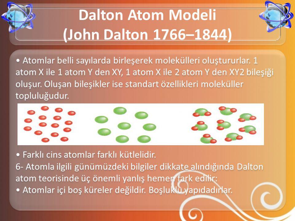 • Atomlar belli sayılarda birleşerek molekülleri oluştururlar. 1 atom X ile 1 atom Y den XY, 1 atom X ile 2 atom Y den XY2 bileşiği oluşur. Oluşan bil