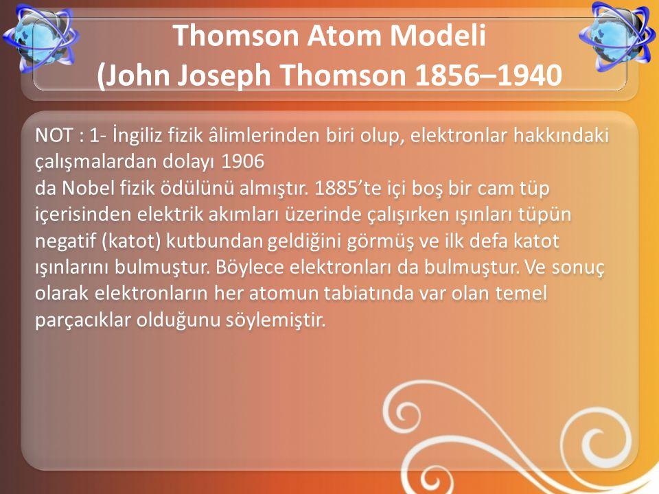 NOT : 1- İngiliz fizik âlimlerinden biri olup, elektronlar hakkındaki çalışmalardan dolayı 1906 da Nobel fizik ödülünü almıştır. 1885'te içi boş bir c
