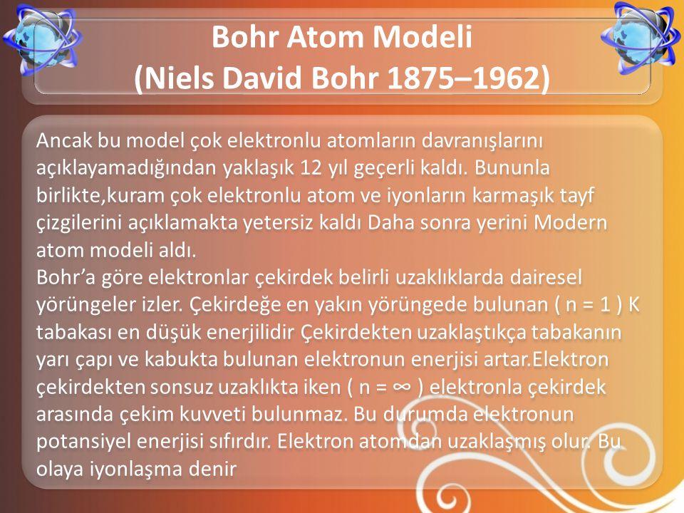 Ancak bu model çok elektronlu atomların davranışlarını açıklayamadığından yaklaşık 12 yıl geçerli kaldı. Bununla birlikte,kuram çok elektronlu atom ve