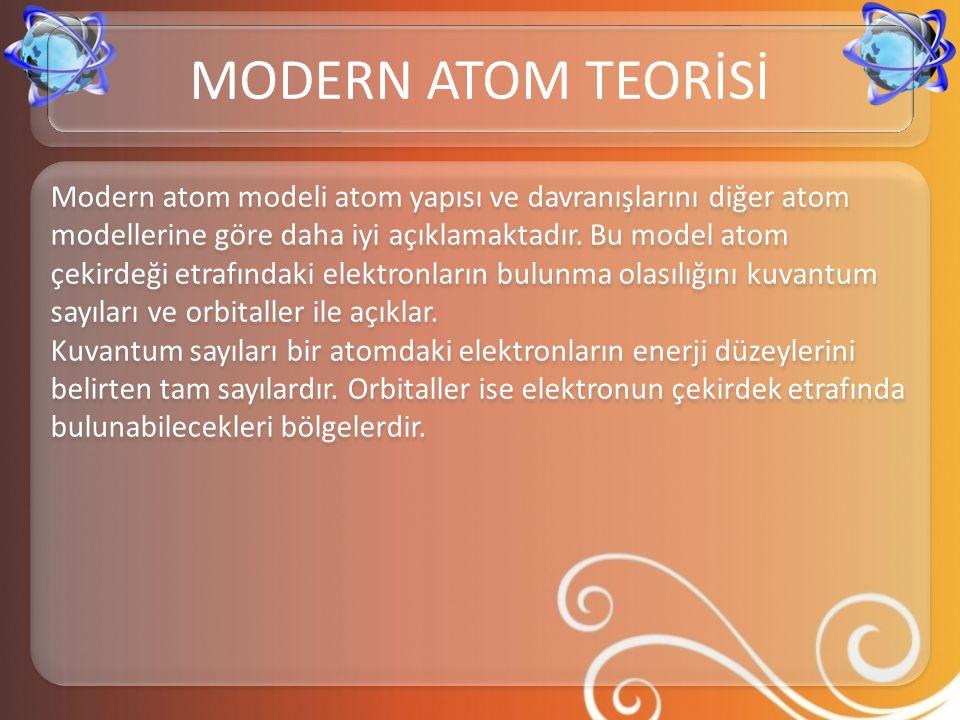 Modern atom modeli atom yapısı ve davranışlarını diğer atom modellerine göre daha iyi açıklamaktadır. Bu model atom çekirdeği etrafındaki elektronları