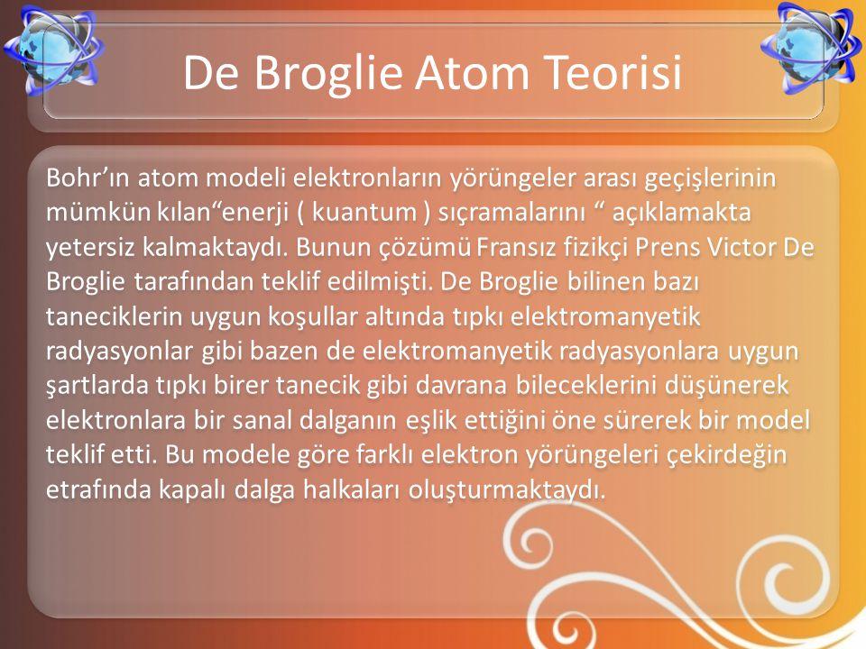 """Bohr'ın atom modeli elektronların yörüngeler arası geçişlerinin mümkün kılan""""enerji ( kuantum ) sıçramalarını """" açıklamakta yetersiz kalmaktaydı. Bunu"""