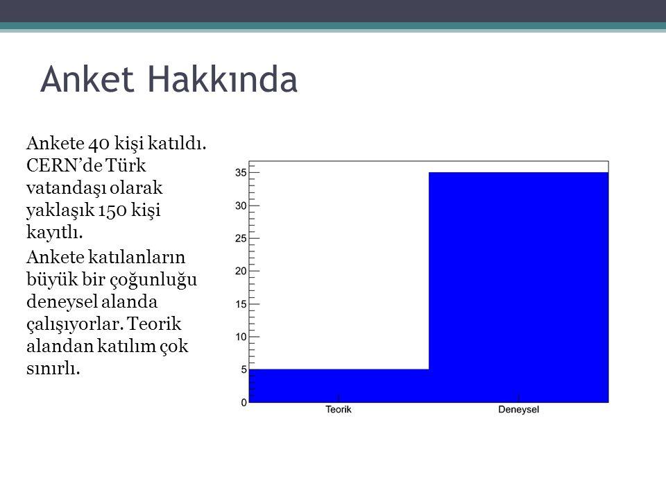 Anket Hakkında Ankete 40 kişi katıldı. CERN'de Türk vatandaşı olarak yaklaşık 150 kişi kayıtlı.