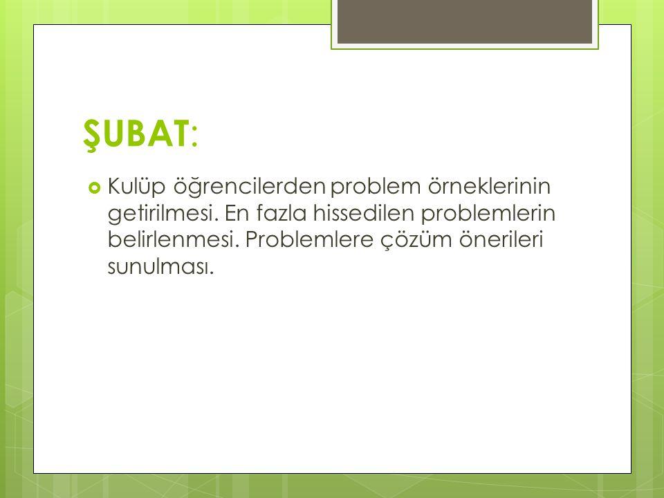 ŞUBAT :  Kulüp öğrencilerden problem örneklerinin getirilmesi. En fazla hissedilen problemlerin belirlenmesi. Problemlere çözüm önerileri sunulması.