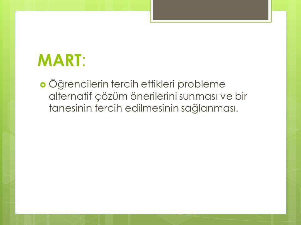 MART :  Öğrencilerin tercih ettikleri probleme alternatif çözüm önerilerini sunması ve bir tanesinin tercih edilmesinin sağlanması.