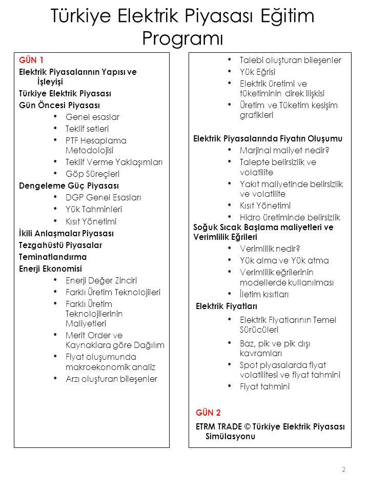 ETRM TRADE© Santrallerin Fiziksel Özellikleri; • Kapasite, minimum kararlı üretim • Marjinal maliyet, yük faktörü, verimlilik Elektrik Piyasaları; • TCAT, ithalat/ihracat, çalışma prensipleri • Gün Öncesi Piyasası, Teklif Verme, Talimat • İkili Anlaşmalar Piyasası, Bid/Offer • OTC Piyasası • Dengeleme ve Güç Piyasası ETRM Trade (C) yazılımı ile Türkiye elektrik piyasalarının tamamı tek bir ekranda simüle edilmiştir.