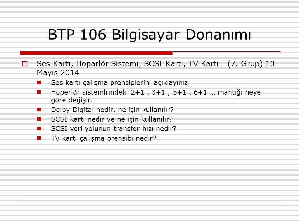  Ses Kartı, Hoparlör Sistemi, SCSI Kartı, TV Kartı… (7. Grup) 13 Mayıs 2014  Ses kartı çalışma prensiplerini açıklayınız.  Hoperlör sistemlrindeki