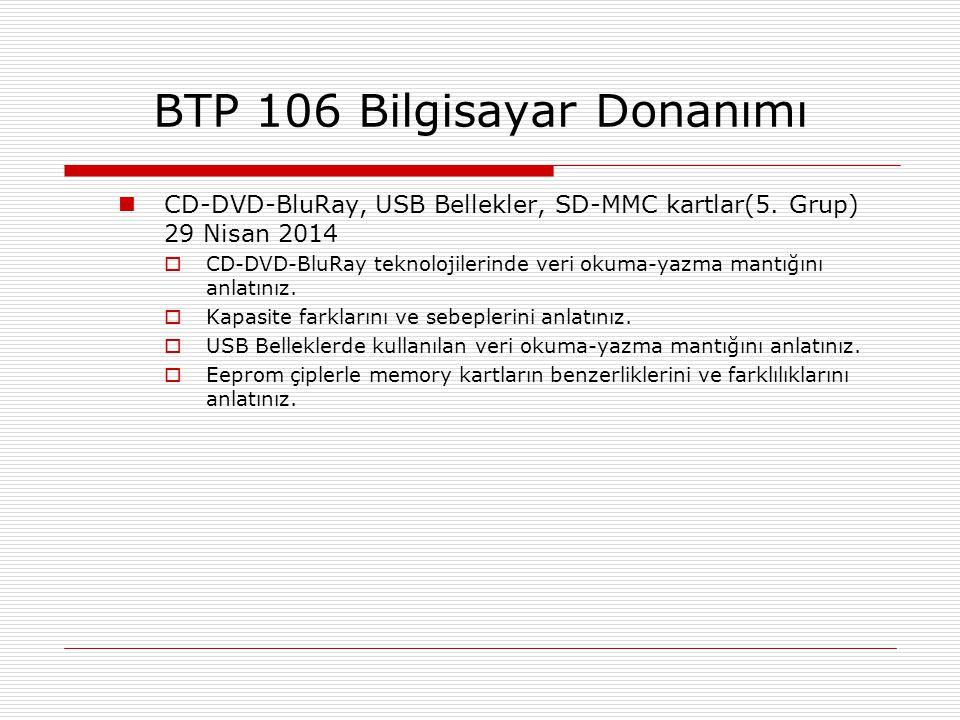  CD-DVD-BluRay, USB Bellekler, SD-MMC kartlar(5. Grup) 29 Nisan 2014  CD-DVD-BluRay teknolojilerinde veri okuma-yazma mantığını anlatınız.  Kapasit