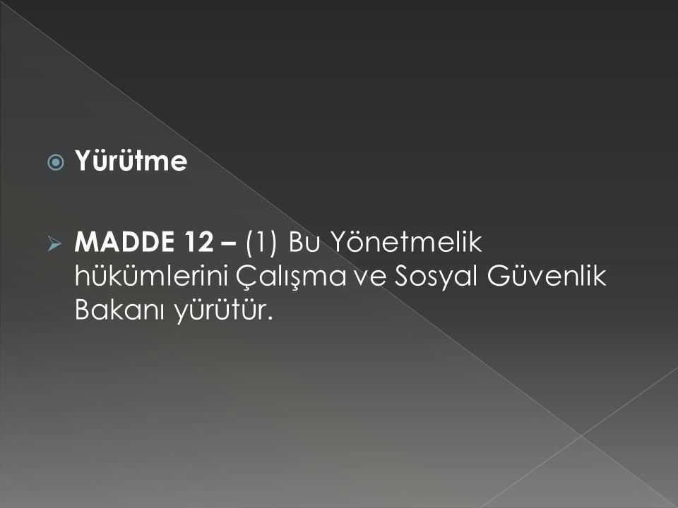  Yürütme  MADDE 12 – (1) Bu Yönetmelik hükümlerini Çalışma ve Sosyal Güvenlik Bakanı yürütür.