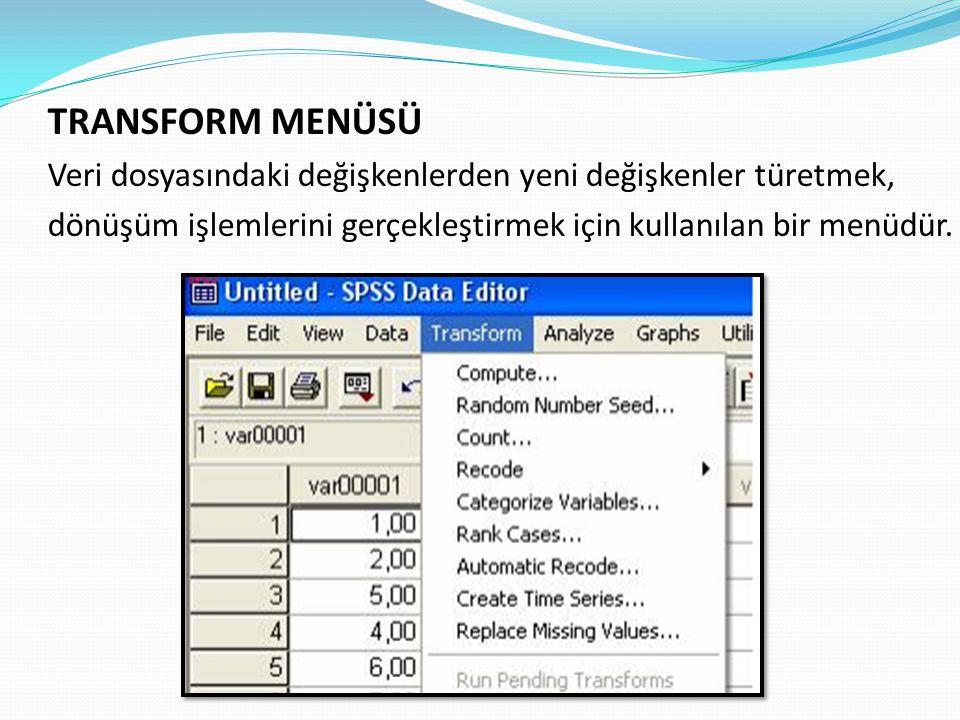 TRANSFORM MENÜSÜ Veri dosyasındaki değişkenlerden yeni değişkenler türetmek, dönüşüm işlemlerini gerçekleştirmek için kullanılan bir menüdür.
