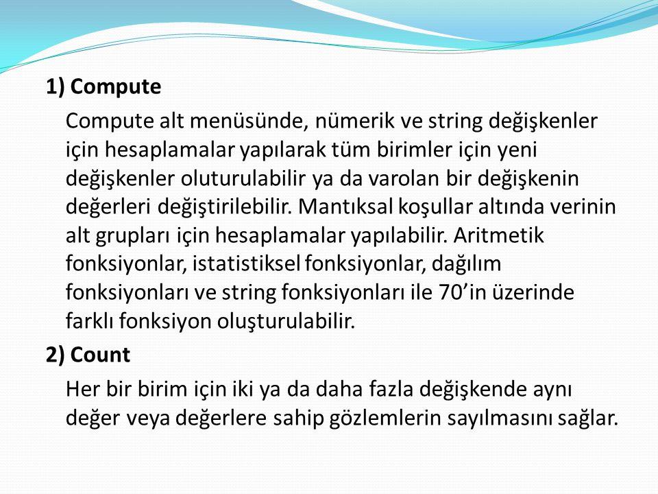 1) Compute Compute alt menüsünde, nümerik ve string değişkenler için hesaplamalar yapılarak tüm birimler için yeni değişkenler oluturulabilir ya da varolan bir değişkenin değerleri değiştirilebilir.