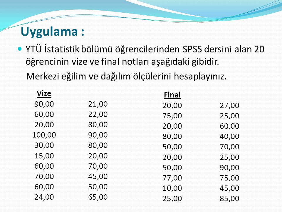 Uygulama :  YTÜ İstatistik bölümü öğrencilerinden SPSS dersini alan 20 öğrencinin vize ve final notları aşağıdaki gibidir.
