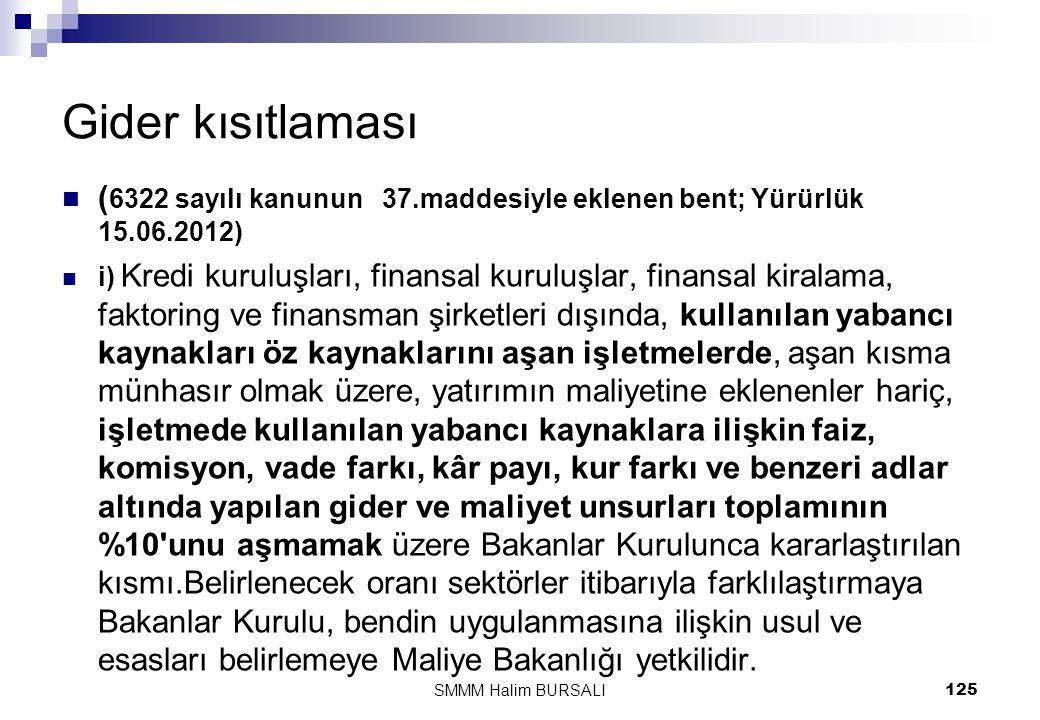 Gider kısıtlaması  ( 6322 sayılı kanunun 37.maddesiyle eklenen bent; Yürürlük 15.06.2012)  i) Kredi kuruluşları, finansal kuruluşlar, finansal kiral