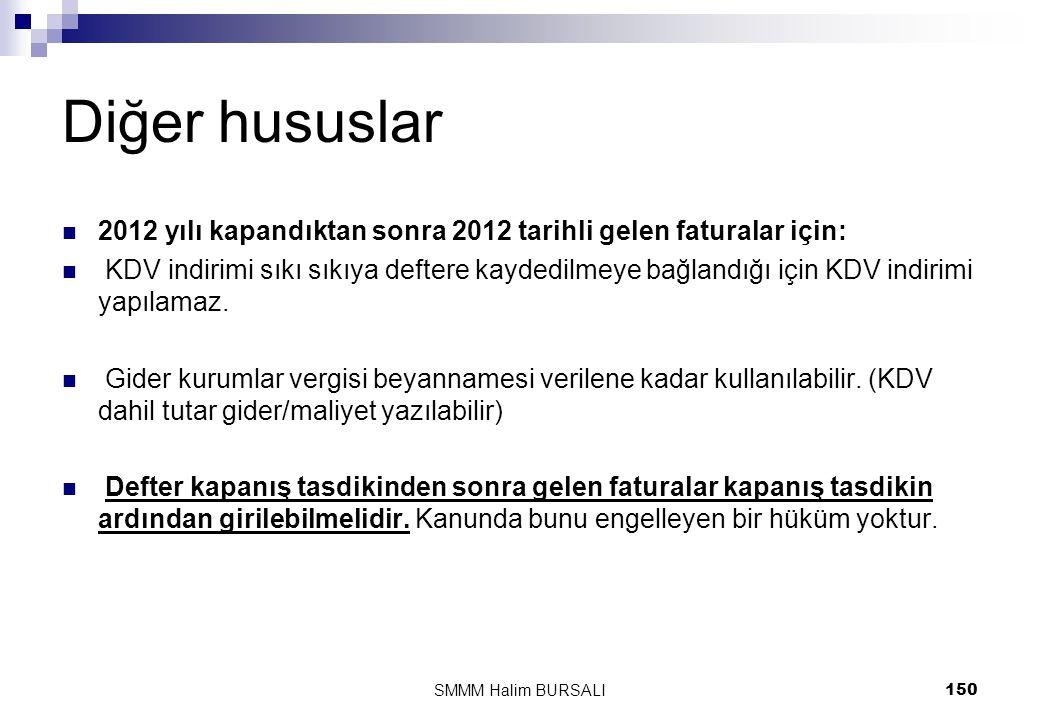 Diğer hususlar  2012 yılı kapandıktan sonra 2012 tarihli gelen faturalar için:  KDV indirimi sıkı sıkıya deftere kaydedilmeye bağlandığı için KDV in