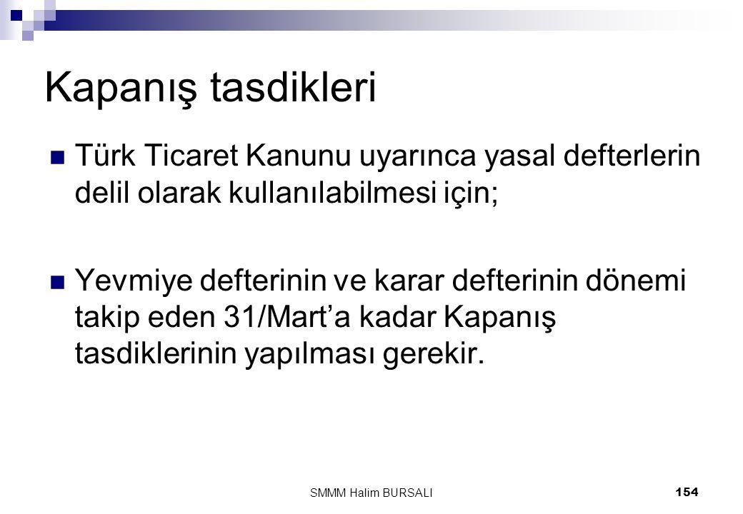 Kapanış tasdikleri  Türk Ticaret Kanunu uyarınca yasal defterlerin delil olarak kullanılabilmesi için;  Yevmiye defterinin ve karar defterinin dönem