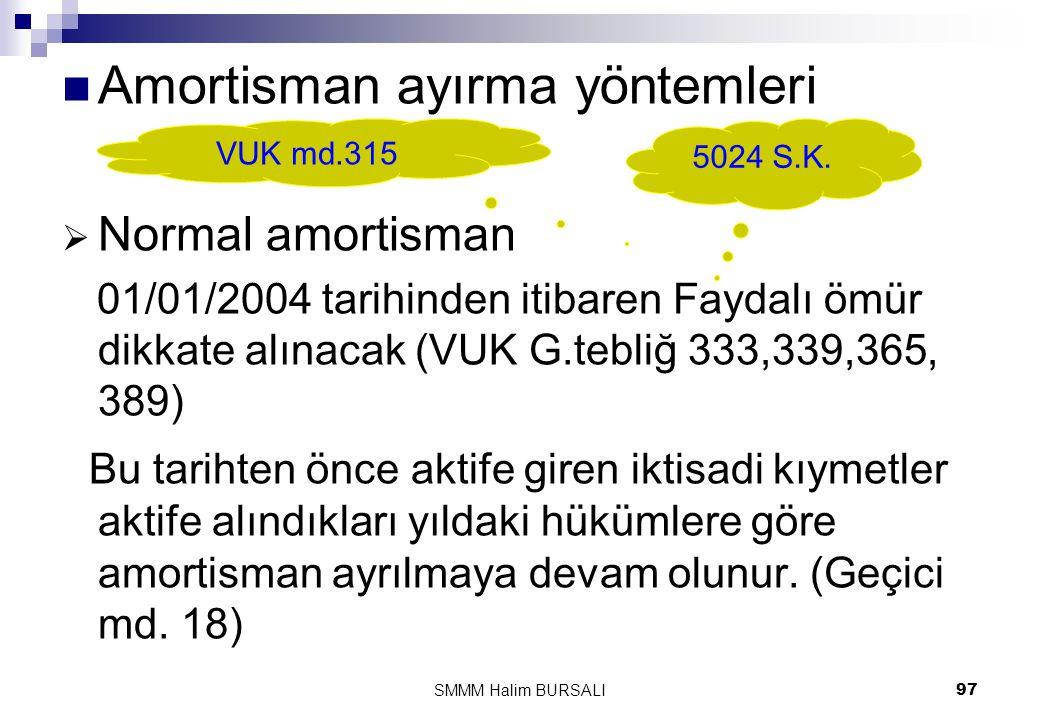  Amortisman ayırma yöntemleri  Normal amortisman 01/01/2004 tarihinden itibaren Faydalı ömür dikkate alınacak (VUK G.tebliğ 333,339,365, 389) Bu tar