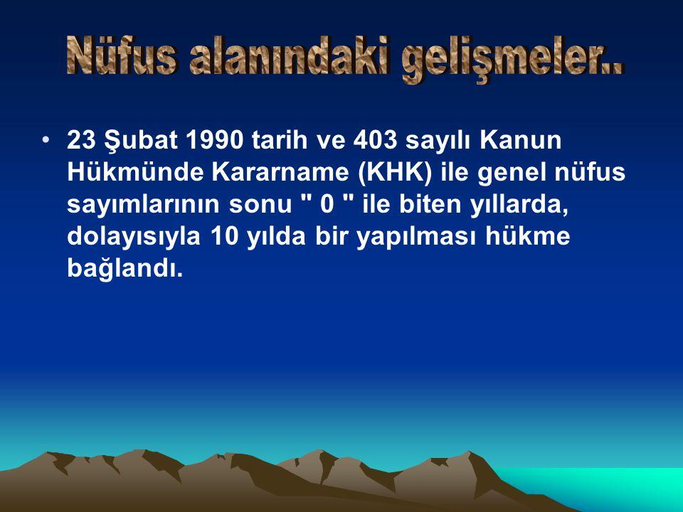•23 Şubat 1990 tarih ve 403 sayılı Kanun Hükmünde Kararname (KHK) ile genel nüfus sayımlarının sonu 0 ile biten yıllarda, dolayısıyla 10 yılda bir yapılması hükme bağlandı.