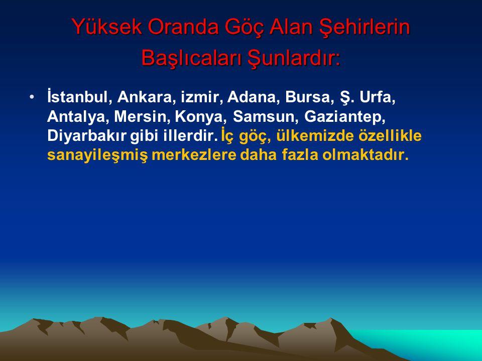 Yüksek Oranda Göç Alan Şehirlerin Başlıcaları Şunlardır: •İstanbul, Ankara, izmir, Adana, Bursa, Ş.
