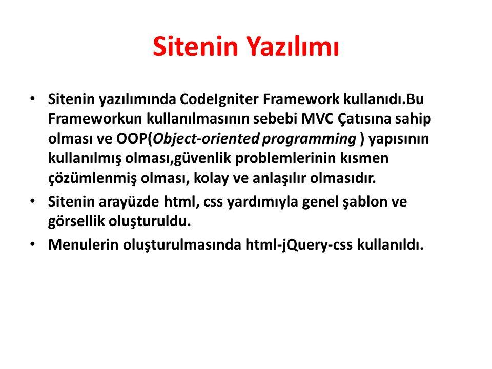 Sitenin Yazılımı • Sitenin yazılımında CodeIgniter Framework kullanıdı.Bu Frameworkun kullanılmasının sebebi MVC Çatısına sahip olması ve OOP(Object-o