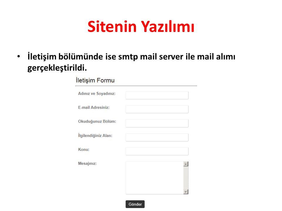 Sitenin Yazılımı • İletişim bölümünde ise smtp mail server ile mail alımı gerçekleştirildi.