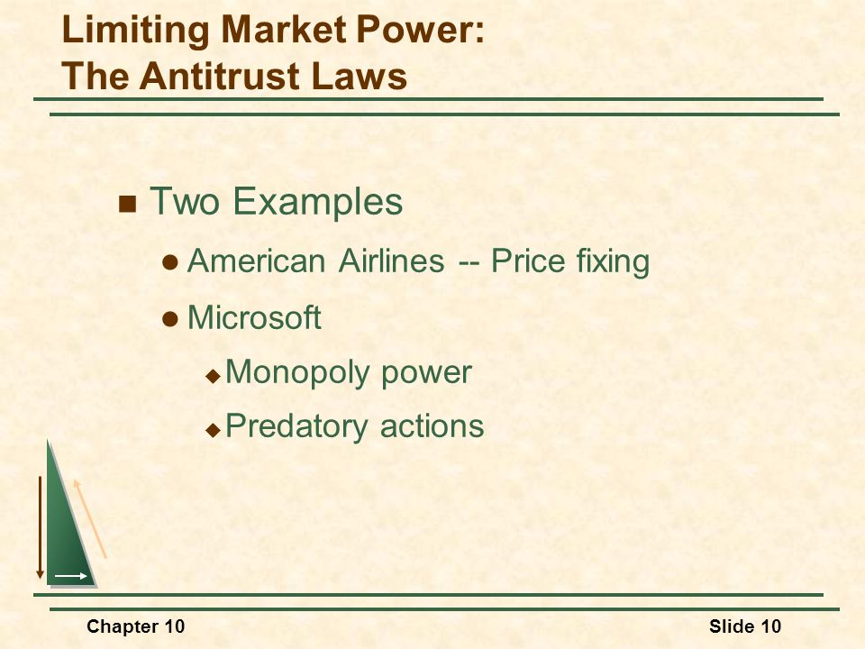 Chapter 10Slide 10  Two Examples  American Airlines -- Price fixing  Microsoft  Monopoly power  Predatory actions Limiting Market Power: The Anti