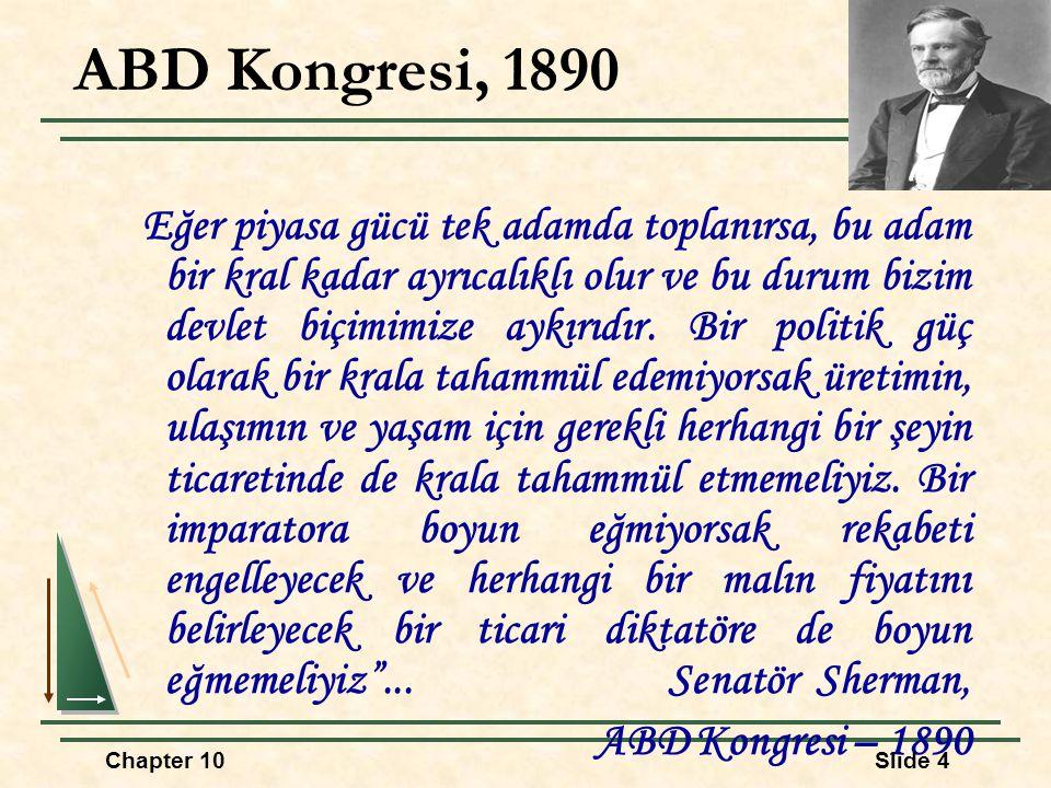 ABD Kongresi, 1890 Eğer piyasa gücü tek adamda toplanırsa, bu adam bir kral kadar ayrıcalıklı olur ve bu durum bizim devlet biçimimize aykırıdır. Bir