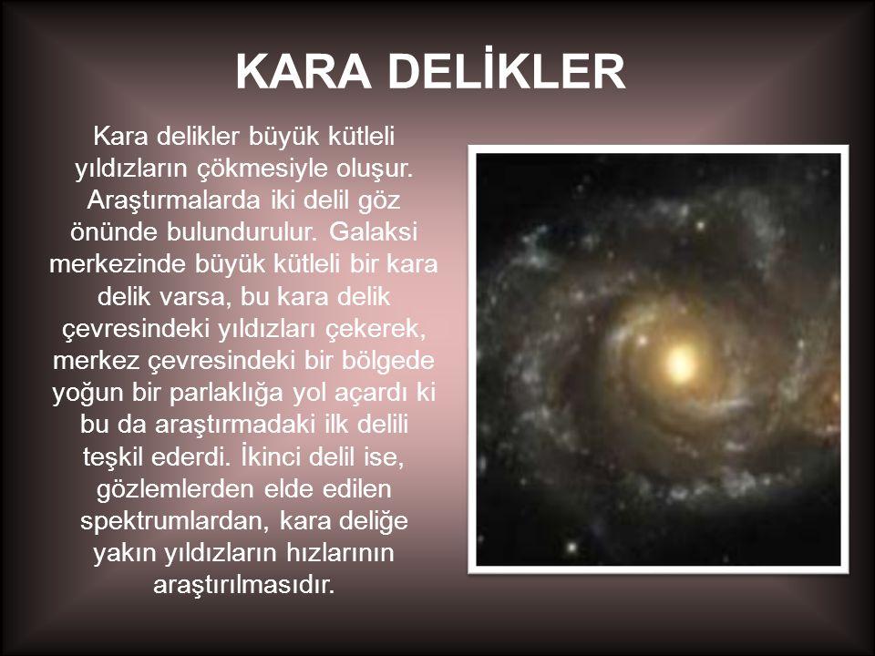 KARA DELİKLER Kara delikler büyük kütleli yıldızların çökmesiyle oluşur. Araştırmalarda iki delil göz önünde bulundurulur. Galaksi merkezinde büyük kü