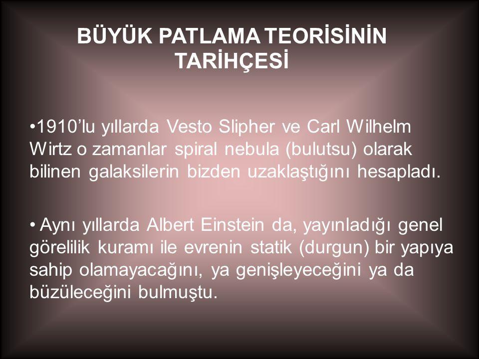 •1927 yılında Belçikalı bir papaz olan Georges Lemaitre Einstein alan denklemlerinin statik olmayan bir evrene işaret ettiğini bulmuştur.