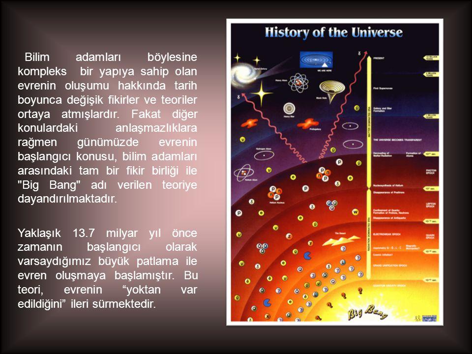 Bilim adamları böylesine kompleks bir yapıya sahip olan evrenin oluşumu hakkında tarih boyunca değişik fikirler ve teoriler ortaya atmışlardır. Fakat